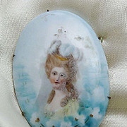 Victorian Hand-Painted Porcelain Brooch Circa 1880  'Girl with Curls'