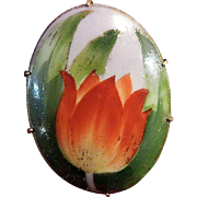 Hand-Painted Porcelain Turn of the Century Tulip Brooch Pin