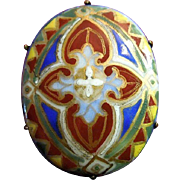 Stained Glass  Antique Hand-Painted Porcelain Pin