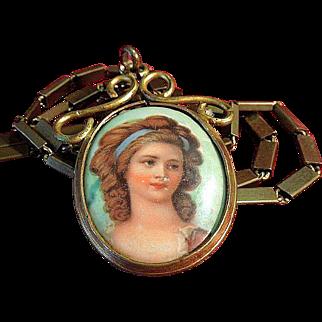 Victorian Hand-Painted Porcelain Portrait Necklace C.1880 on Chain