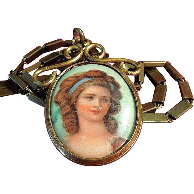 Victorian Hand-Painted Porcelain Portrait Necklace C.1880 on Chain