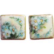 "Hand-Painted Porcelain Square ""Forget-Me-Not"" Victorian Cufflinks, Artist Signed"