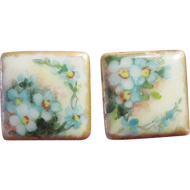 "Victorian Hand-Painted Porcelain Square ""Forget-Me-Not"" Cufflinks, Artist Signed"