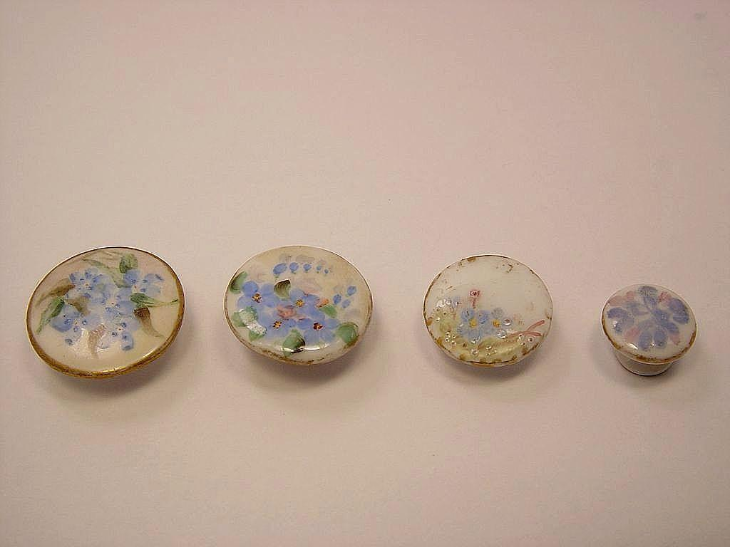 "Four Hand-Painted ""Forget-Me-Not"" Studs"