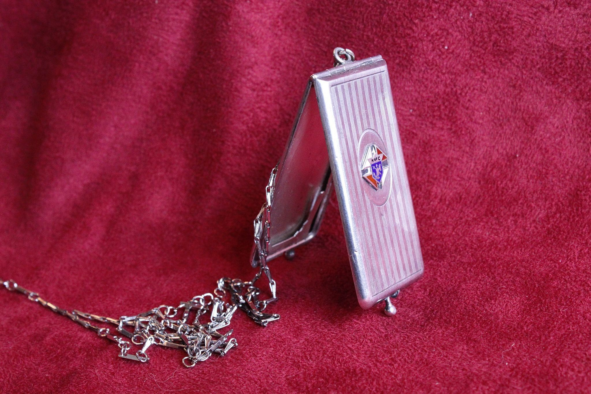 Quirky Sterling Antique Knights of Columbus Case Dated 1910