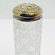 Victorian Brass and Cut Glass Talc Jar
