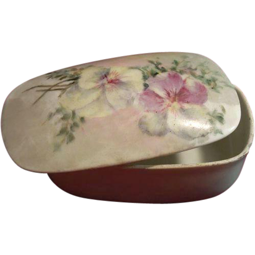 Victorian T & V Limoges Hand-Painted Porcelain Box with Match Striker