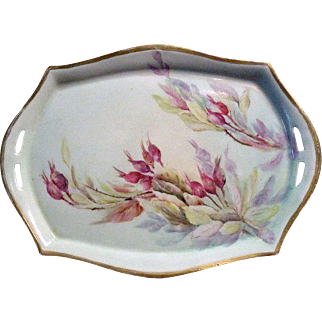 """Hand-Painted Porcelain Tray Circa 1925 Hallmarked & Signed """"E. Olmsted"""" Silesia"""