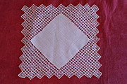 Vintage Creme Fine Cotton Tatted Wedding Handkerchief