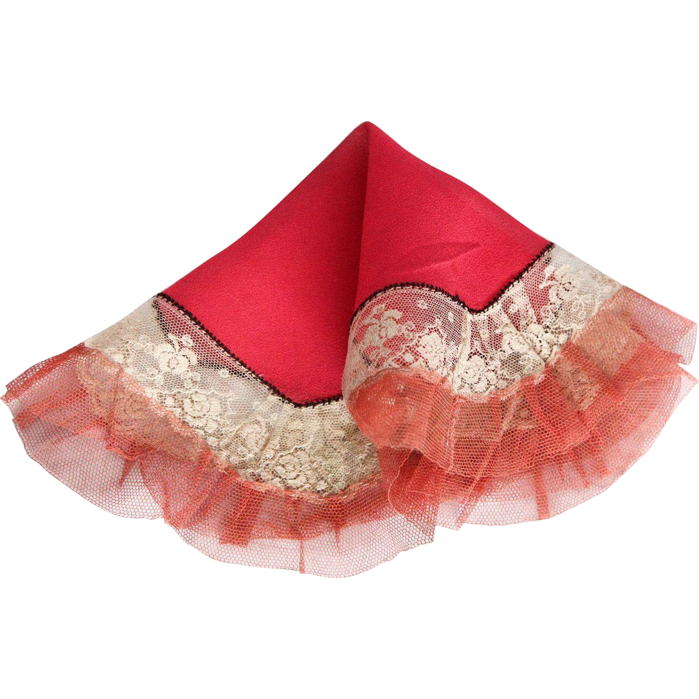 1920's Art Deco Red Silk & Lace Octagonal Handmade Flapper Handkerchief
