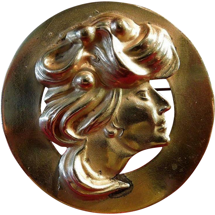 Art Nouveau Lady La Belle Epoch Brooch
