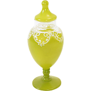 Fabulous Apple Green & Enamel Glass Vintage Boudoir Jar