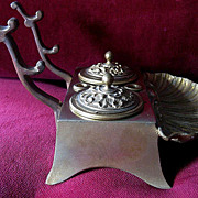 Beautiful Bronze 19th Century Inkwell and Pen Rest
