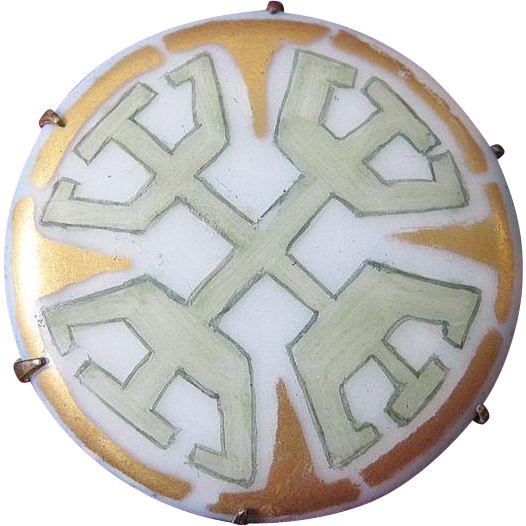 Art Deco 1920's Pastel Hand-Painted Geometric Porcelain Brooch