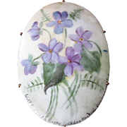 Large Oval Vintage Signed and Dated Violet Porcelain Brooch