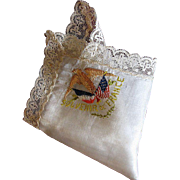 World War I 'Souvenir de France' Silk and Lace Handkerchief