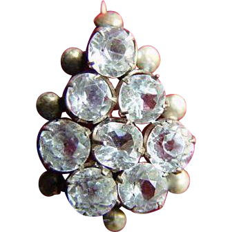 Gold-Filled White Sapphire Antique Edwardian Brooch Pin
