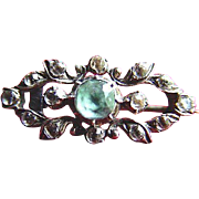 Sterling, Light Aquamarine and White Sapphire Victorian Brooch Pin