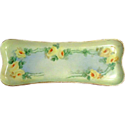 Hand-Painted Porcelain Yellow Rose Pin Tray Hallmarked M&Z Austria - Moritz Zdekauer