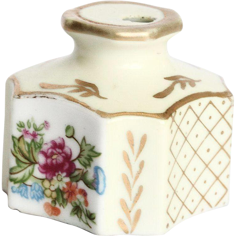Cream Colored Porcelain Vintage Gold-Leafed Inkwell with Flowers with  Mark