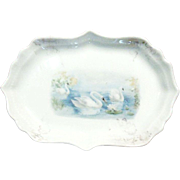 Art Deco 1920's Swan Porcelain Pin Tray/Trinket Dish
