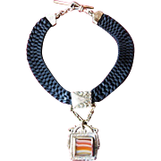 Gold-Filled Agate, Mother of Pearl Watch Fob on Black Woven Ribbon Chain