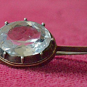 Edwardian Multi-Faceted Quartz Crystal Brooch Pin in Sterling Silver and 14K Gold Setting