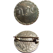 Antique Sterling Silver Love-Token Brooch Pin Backed With French Franc Dated 1881