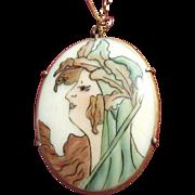 Art Nouveau Lady Porcelain Oval Necklace on Chain