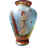 Exquisite Hand-Painted Art Nouveau Frosted Glass Vase Circa 1900-1910