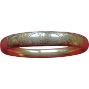 14K Gold-Filled Victorian Antique Etched Bangle Bracelet F.M. CO.