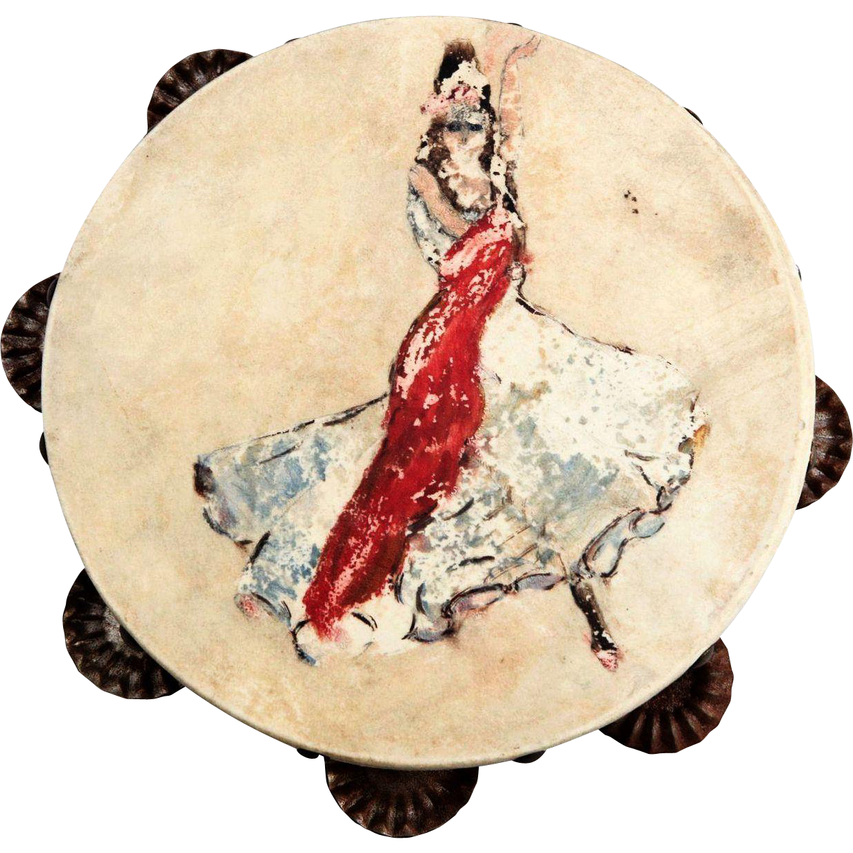 Hand-Painted Vintage Flamenco Dancer Tambourine