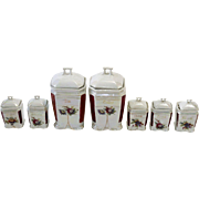 German Porcelain Lustre Seven Piece Condiment Set