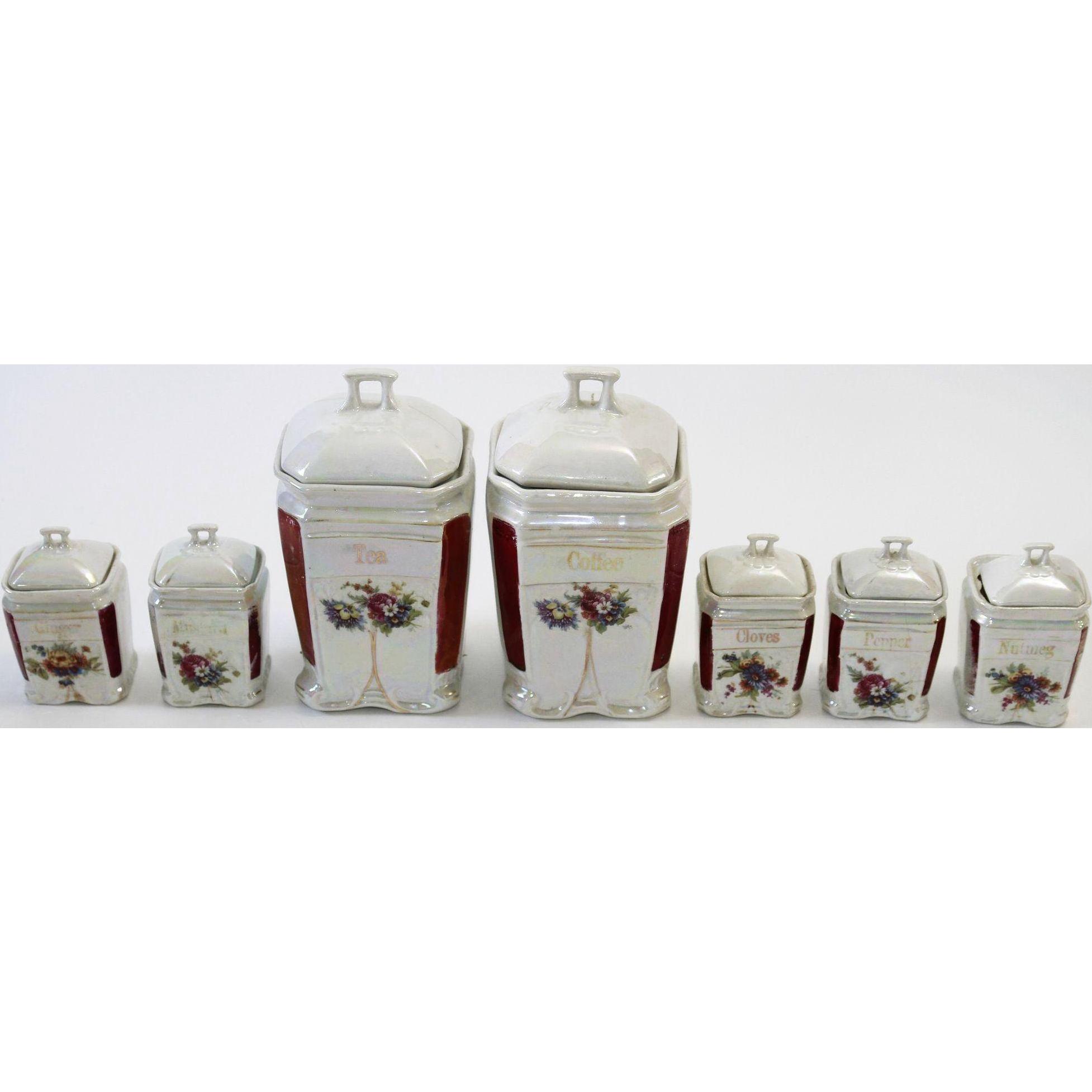 German Porcelain Rich Lustre Condiment/Canisters - Seven Piece set