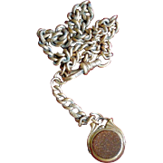 Art Deco Antique Goldstone and Moonstone Gold-Filled Watch Fob and Chain