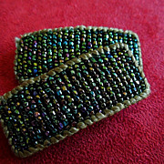 Green Iridescent Art Deco Seed Bead Shoe Clips