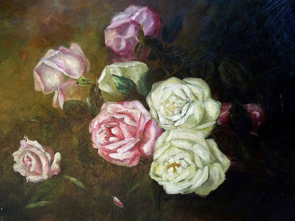 19th Century Roses on Canvas Oil Painting