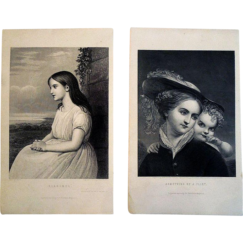 19th Century Black and White Engravings, 'Claribel' and 'Something of A Flirt', A Pair