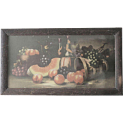 Delicious & Sumptuous Antique Watermelon, Fruit and Wine 19th Century Painting