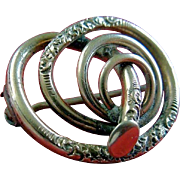 Gold-Filled Etched Victorian Spiral Brooch Pin Circa 1880