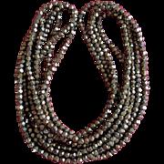 1920's Art Deco Iridescent Copper Beaded Flapper Necklace