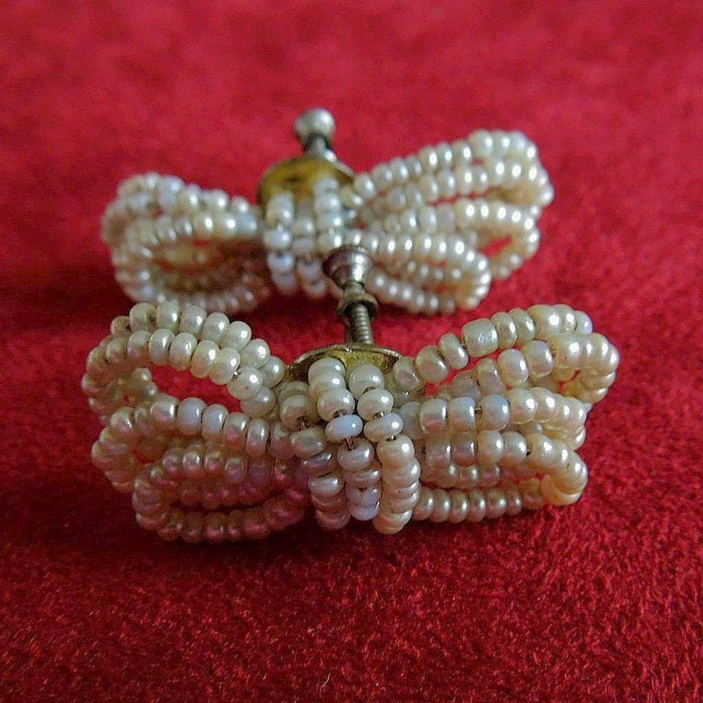 Fabulous 1950's Vintage Seed Pearl Bow Earrings