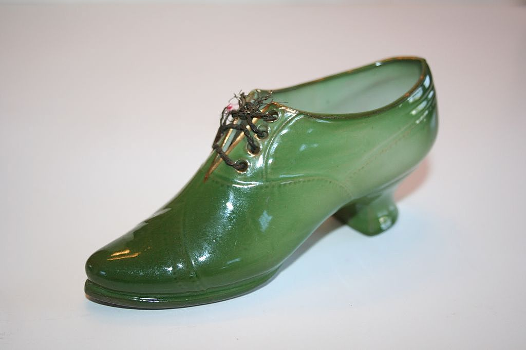 Stunning Green Porcelain Baby Louie Shoe