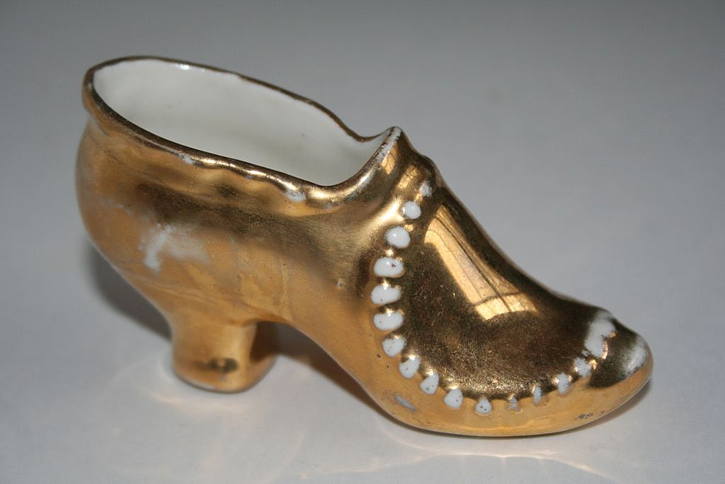Shoe lover's delight - Gold Porcelain Antique Shoe