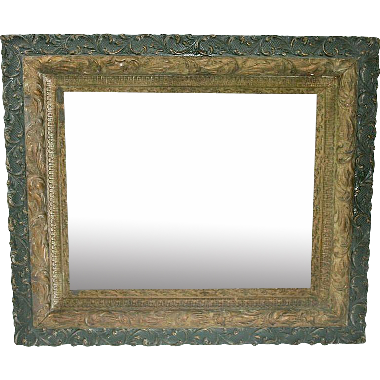 19th Century Green and Gold Leaf Decorative Mirror