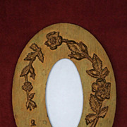 19th C. Victorian Gold Wooden Embossed Picture Frame