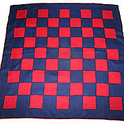 1960's Mid Century Mod Navy and Red Checked Racing Scarf