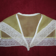 1920's Green Silk Crepe Flapper Sailor Collar with Lace Border