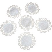 19th Century Ecru Fine Linen and Crochet Coasters/Set 6