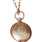 Victorian Gold-Filled Child's Round Hair Locket on Chain